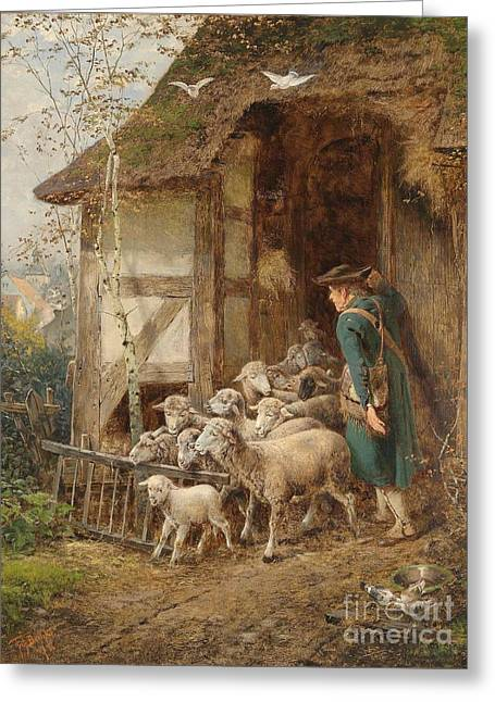 1907 Greeting Cards - The Shepherd Greeting Card by Celestial Images