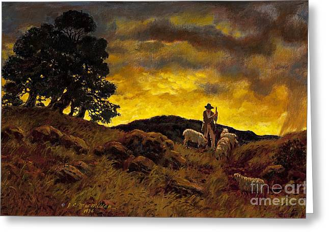 Tending Sheep Greeting Cards - The Shepherd Greeting Card by James Robert MacMillan