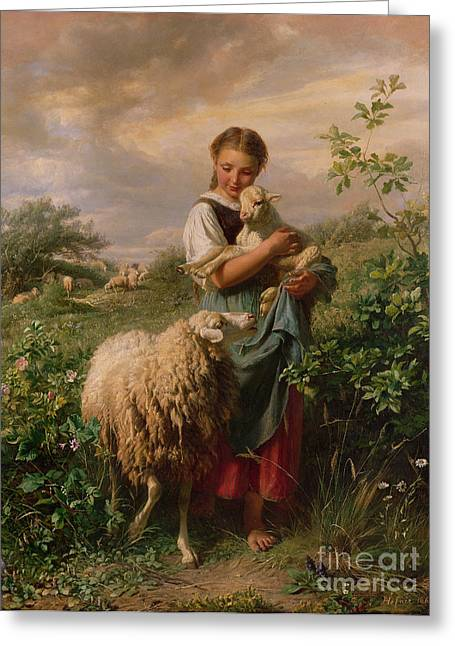 Sheep Greeting Cards - The Shepherdess Greeting Card by Johann Baptist Hofner