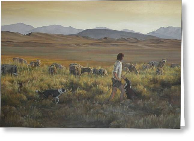 Mia Delode Greeting Cards - The shepherdess Greeting Card by Mia DeLode