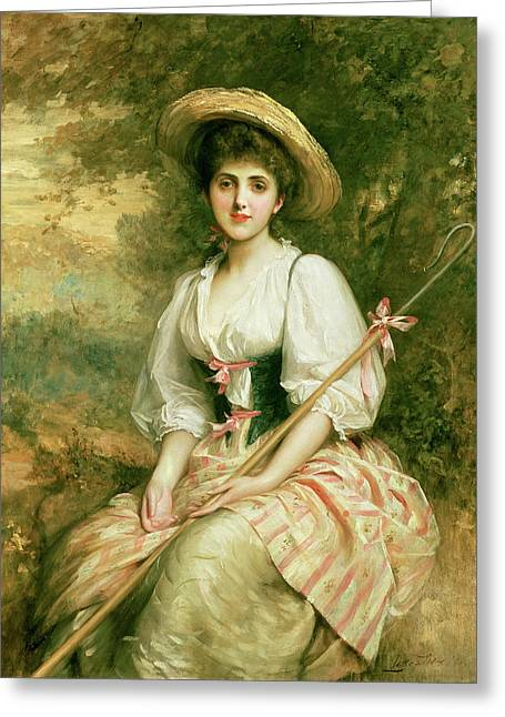 Crooked Greeting Cards - The Shepherdess Greeting Card by Sir Samuel Luke Fildes