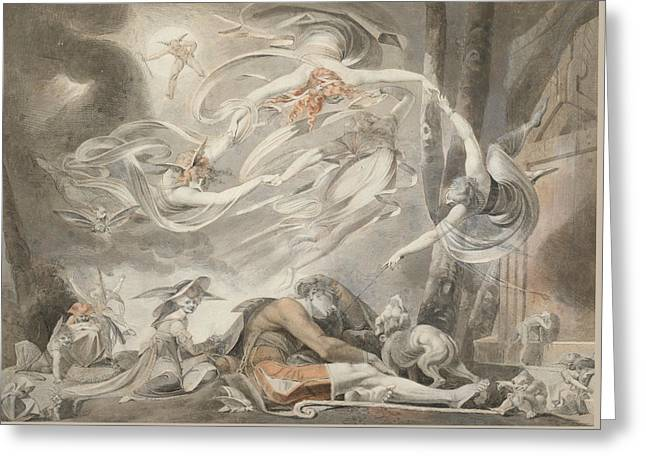 Romanticism Drawings Greeting Cards - The Shepherds Dream Greeting Card by Henry Fuseli