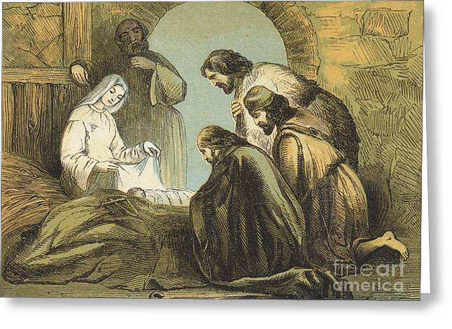 The Shepherds Finding Jesus Greeting Card by English School