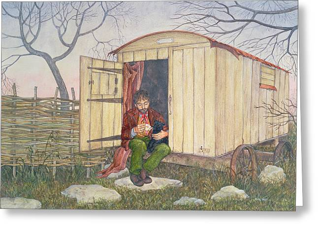 Lamb Greeting Cards - The Shepherds Hut Greeting Card by Ditz