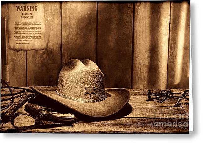 Old Western Photos Greeting Cards - The Sheriff Office Greeting Card by American West Legend By Olivier Le Queinec