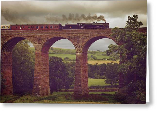Pastureland Greeting Cards - The Sherwood Forester on Dry Beck Viaduct Greeting Card by Andrew Findlay