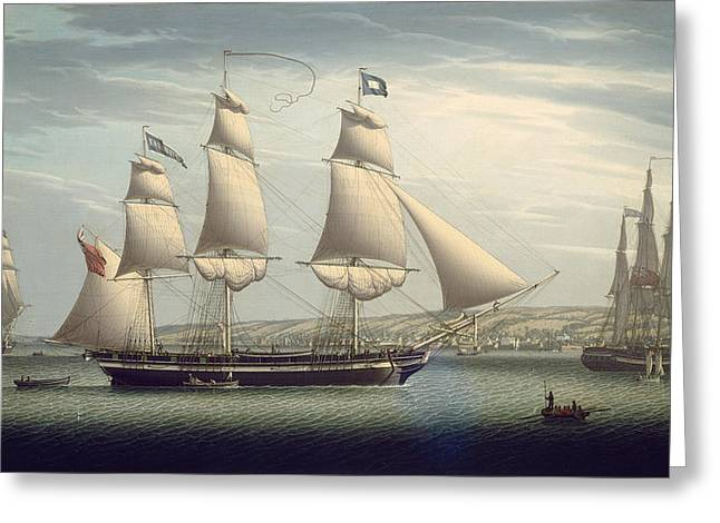 Salmon Paintings Greeting Cards - The Ship -favorite-Maneuvering Off Greenock Greeting Card by Robert Salmon