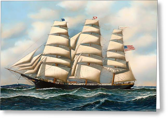 Water Vessels Paintings Greeting Cards - The Ship Young American at Sea Greeting Card by Antonio Jacobsen