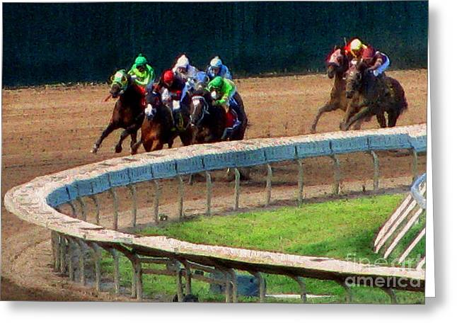 Race Horse Mixed Media Greeting Cards - The Shores Greatest Stretch Greeting Card by Colleen Kammerer