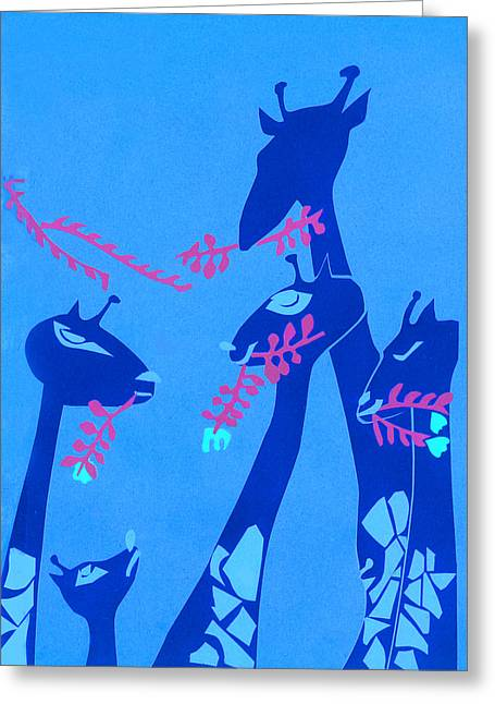 Height Mixed Media Greeting Cards - The Short Necked Giraffe 1 Greeting Card by Lily Hymen
