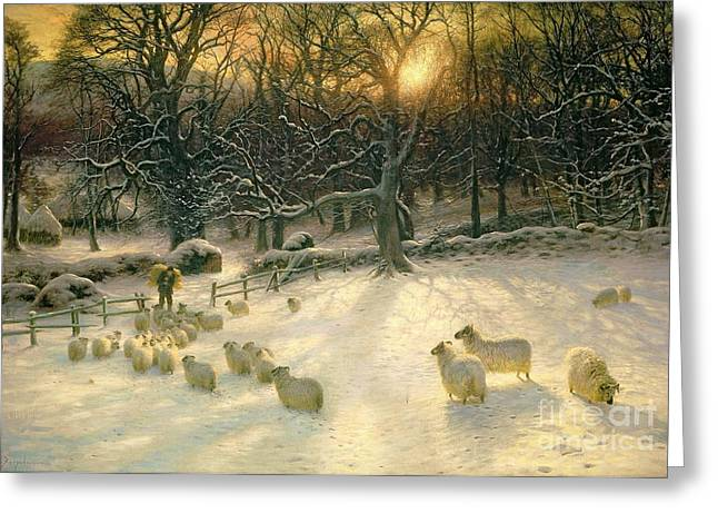 Best Sellers -  - Grazing Snow Greeting Cards - The Shortening Winters Day is Near a Close Greeting Card by Joseph Farquharson