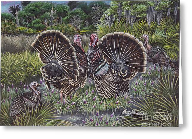 Florida Wild Turkey Greeting Cards - The Showoffs Greeting Card by Monica Turner