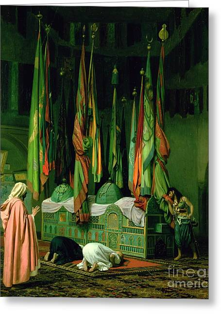 Knelt Paintings Greeting Cards - The Shrine of Imam Hussein Greeting Card by Jean Leon Gerome
