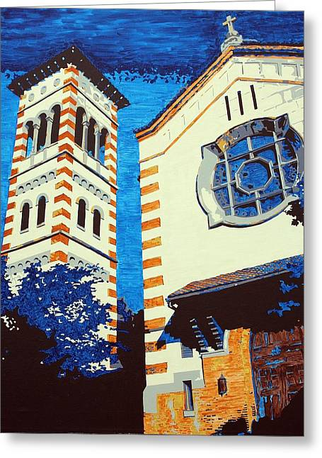 Church Pillars Paintings Greeting Cards - The Shrine Of the Miraculous Medal Greeting Card by Sheri Parris