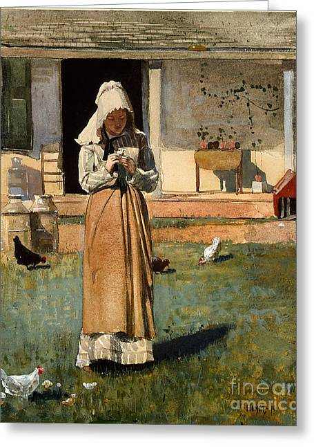 1874 Greeting Cards - The Sick Chicken Greeting Card by Celestial Images