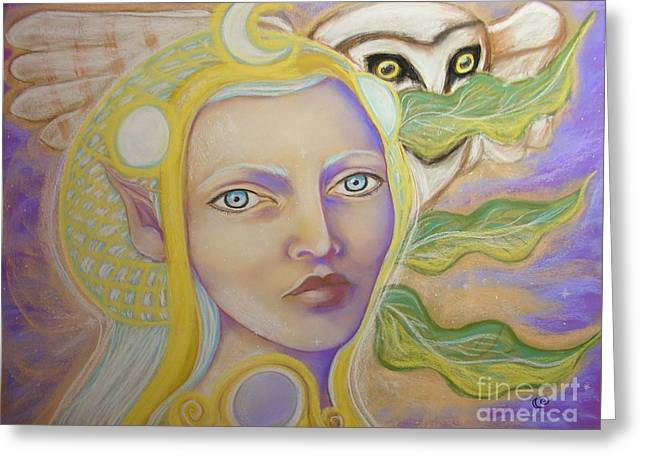 Fairies Pastels Greeting Cards - The Sidhe Moon Maiden Greeting Card by Tammy Mae Moon