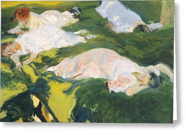 In The Shade Greeting Cards - The Siesta Greeting Card by Joaquin Sorolla y Bastida