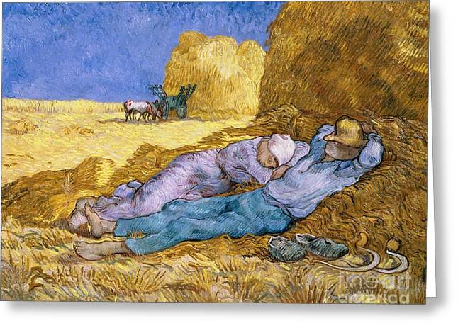 Noon Greeting Cards - The Siesta Greeting Card by Vincent Van Gogh