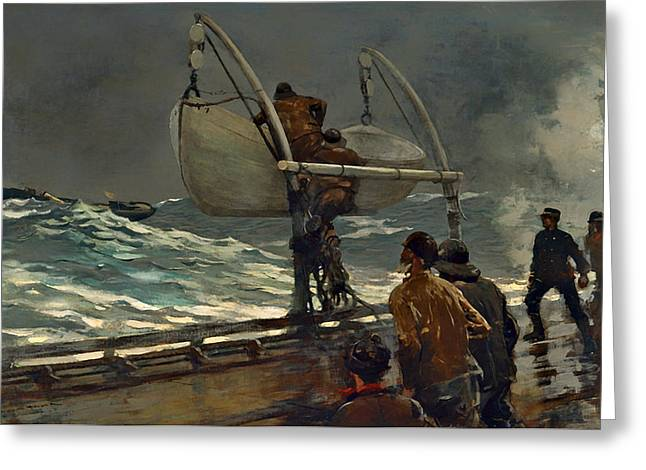 Historic Ship Greeting Cards - The Signal of Distress Greeting Card by Winslow Homer