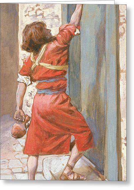 The Signs On The Door Greeting Card by James Tissot