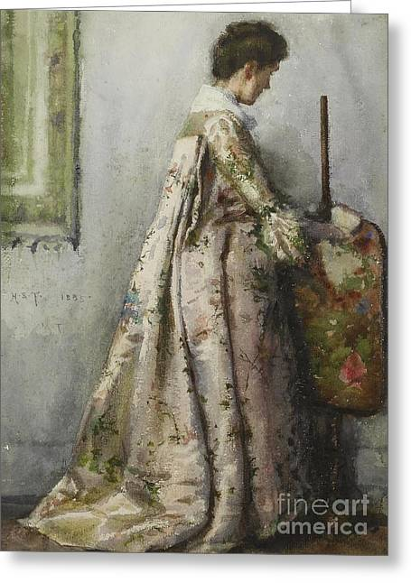The Silk Gown Greeting Card by Henry Scott