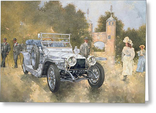Stylish Car Greeting Cards - The Silver Ghost Greeting Card by Peter Miller