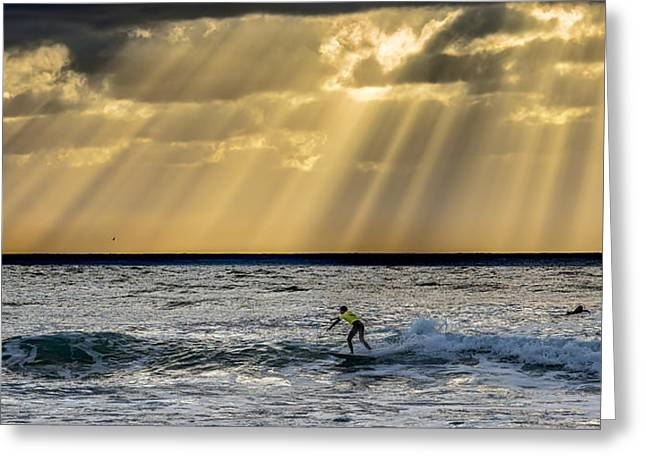 Surf Lifestyle Greeting Cards - The Silver Surfer Greeting Card by Peter Tellone