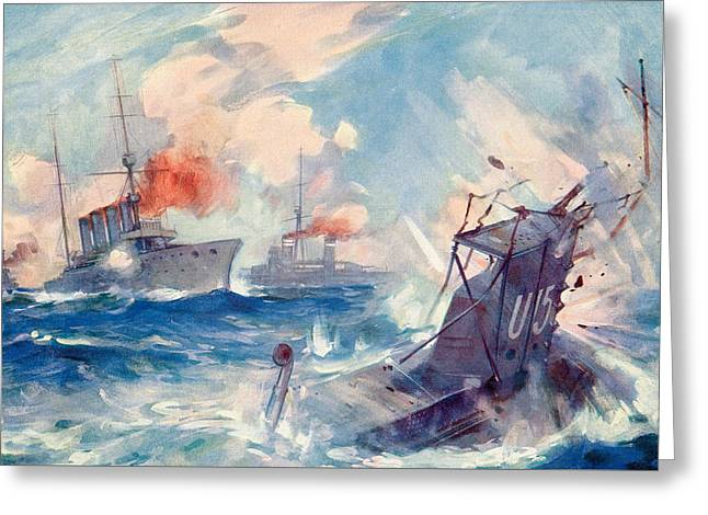 The Sinking Of A German U Boat After Being Rammed By The British Cruiser  Greeting Card by English School