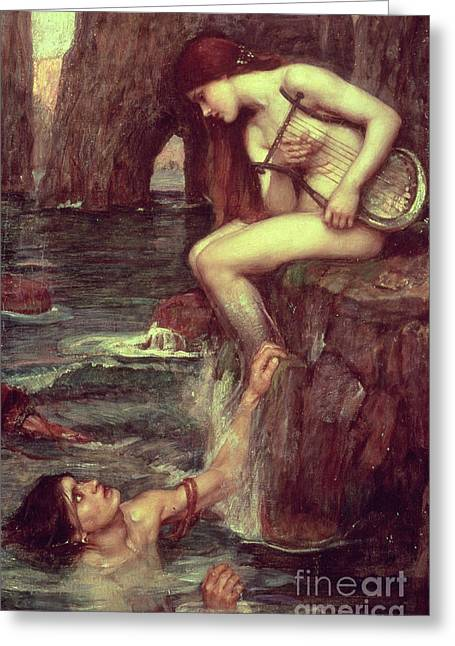 Seductress Greeting Cards - The Siren Greeting Card by John William Waterhouse