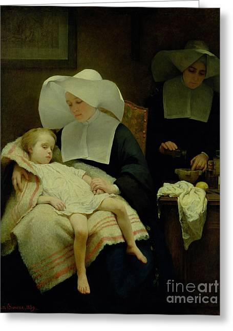 Child Care Greeting Cards - The Sisters of Mercy Greeting Card by Henriette Browne