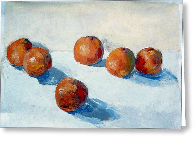 Tangerines Greeting Cards - The Six Tangerines Greeting Card by David Zimmerman