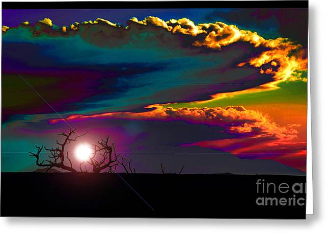 Mystical Landscape Greeting Cards - The Skies Changed As The Minds Awakened Greeting Card by Susanne Still