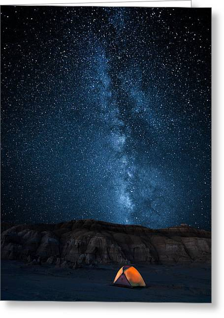 Milky Way Photographs Greeting Cards - The Sky Is My Blanket Greeting Card by John Fan