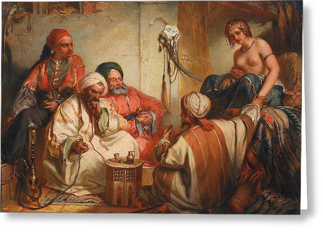The Slave Market Greeting Card by Jean Francois Portaels