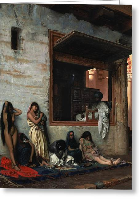 Jean Leon Gerome Greeting Cards - The Slave Market Greeting Card by Jean Leon Gerome