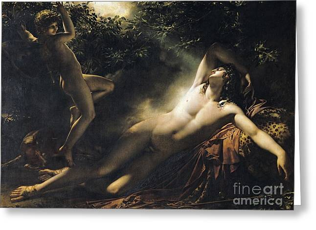 Trance Greeting Cards - The Sleep of Endymion Greeting Card by Anne Louis Girodet de RoucyTrioson
