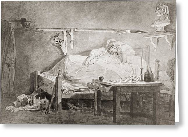 Jean Paul Marat Greeting Cards - The Sleep Of Marat, After The Painting Greeting Card by Ken Welsh