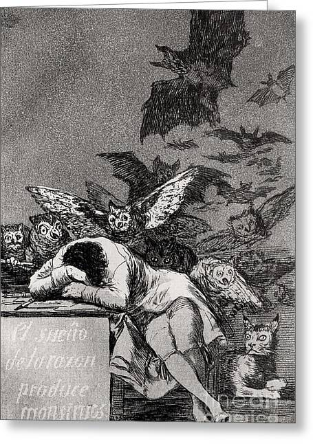 Sleep Paintings Greeting Cards - The Sleep of Reason Produces Monsters Greeting Card by Goya