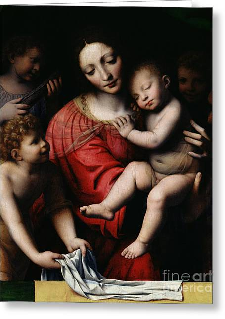 Sleep Paintings Greeting Cards - The Sleeping Christ Greeting Card by Bernardino Luini
