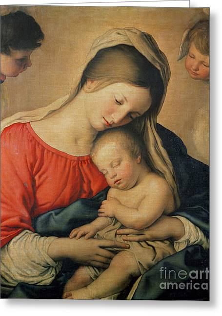 Il Sassoferrato Greeting Cards - The Sleeping Christ Child Greeting Card by Il Sassoferrato