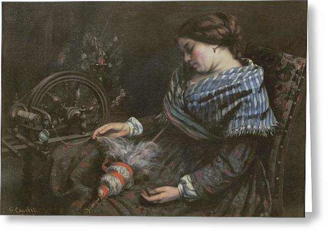 Embroidery Greeting Cards - The Sleeping Embroiderer Greeting Card by Gustave Courbet