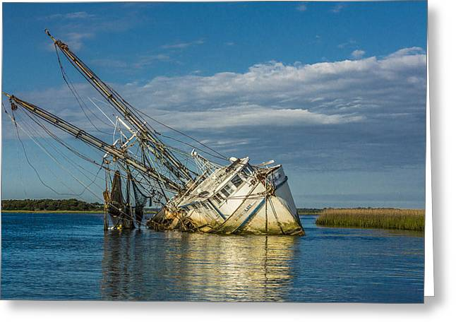 Artist Photographs Greeting Cards - The Sleeping Shrimp Boat Greeting Card by Paula Porterfield-Izzo