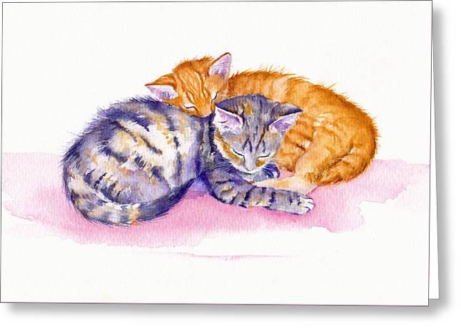 Pairs Greeting Cards - The Sleepy Kittens Greeting Card by Debra Hall