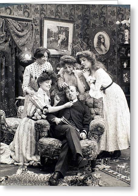 Tickle Greeting Cards - The Sleepy Lover, 1902 Greeting Card by Granger
