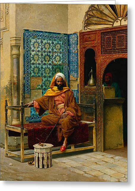 Islam Greeting Cards - The Smoker Greeting Card by Ludwig Deutsch