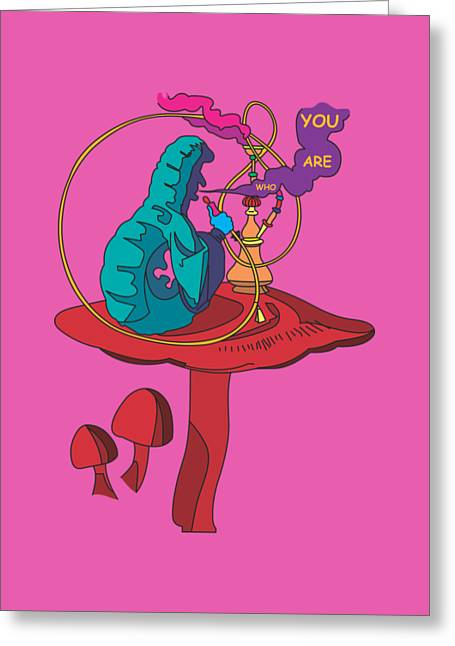 Burton Drawings Greeting Cards - The Smoking Caterpillar - Alice In Wonderland - Ask Alice Greeting Card by Paul Telling