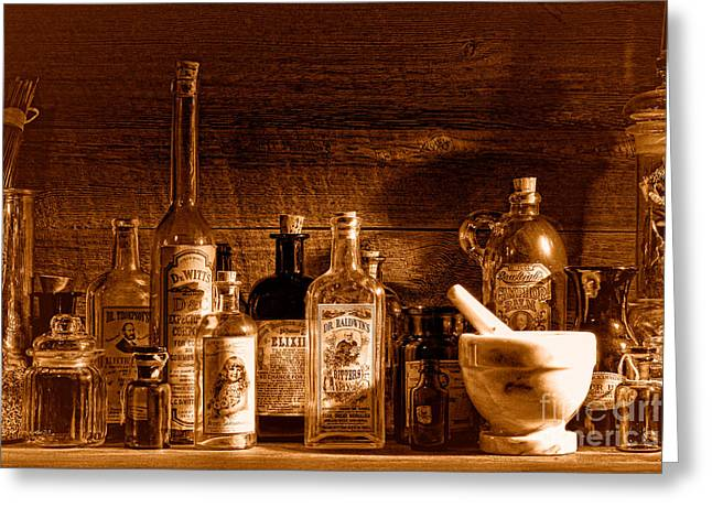The Snake Oil Shop - Sepia Greeting Card by Olivier Le Queinec