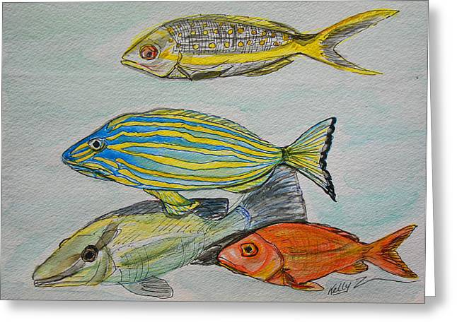 Red Snapper Greeting Cards - The Snapper Four Greeting Card by Kelly     ZumBerge