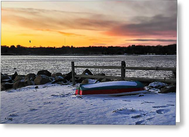 Row Boat Greeting Cards - The Snow Boat Greeting Card by Diana Angstadt