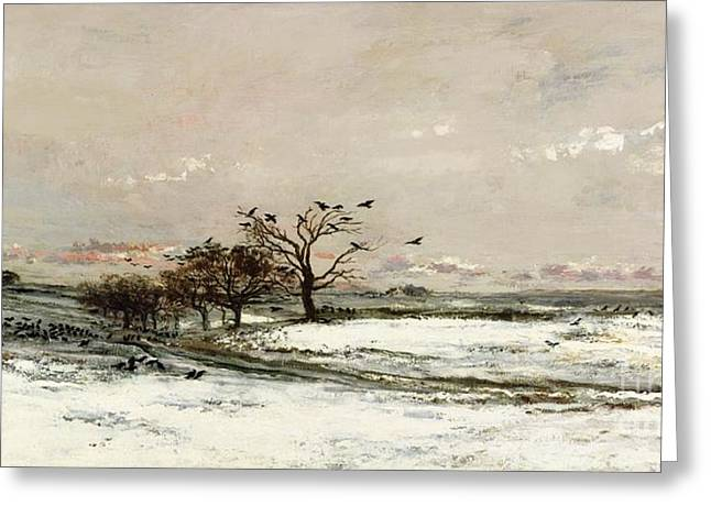 Canvas Crows Greeting Cards - The Snow Greeting Card by Charles Francois Daubigny